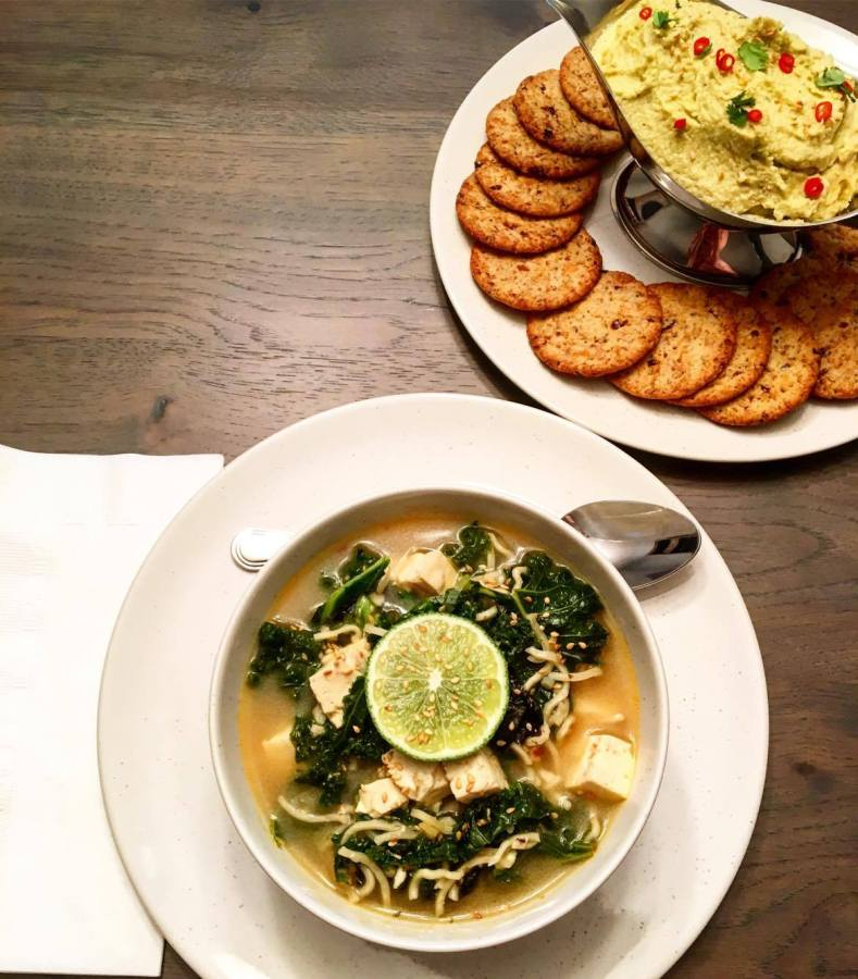 Warm and Delectable Kale & Tofu Soup with Homemade Crab Spread